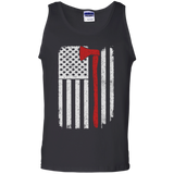 Firefighter Axe US Flag t shirt mockup - Style G220 Gildan 100% Cotton Tank Top - Color Black