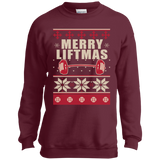 Merry Liftmas - Workout Ugly Christmas Sweater t shirt mockup - Style PC90Y Port and Co. Youth Crewneck Sweatshirt - Color Maroon