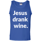 Jesus Drank Wine t shirt mockup - Style G220 Gildan 100% Cotton Tank Top - Color Royal