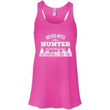 Never Mess With A Hunter t shirt mockup - Style B8800 Bella + Canvas Flowy Racerback Tank - Color Neon Pink