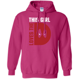 This Girl Loves The D Deadpool t shirt mockup - Style G185 Gildan Pullover Hoodie 8 oz. - Color Heliconia