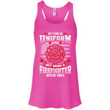Firefighter Retired t shirt mockup - Style B8800 Bella + Canvas Flowy Racerback Tank - Color Neon Pink