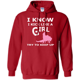 Jiu Jitsu Girl t shirt mockup - Style Pullover Hoodie 8 oz - Color Red