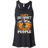 I Lift So I Don't Punch People t shirt mockup - Style B8800 Bella + Canvas Flowy Racerback Tank - Color Black