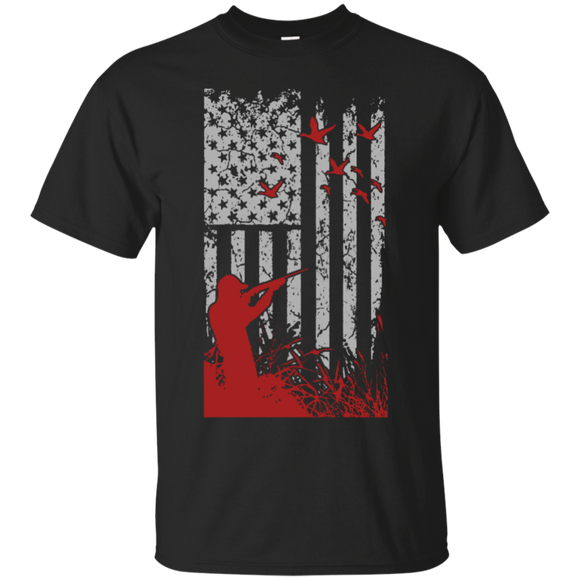 Duck Hunting US Flag t shirt mockup - Style G200 Gildan Ultra Cotton T-Shirt - Color Black