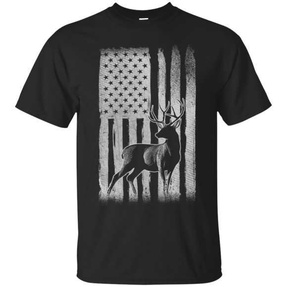Deer Hunting US Flag t shirt mockup - Style G200 Gildan Ultra Cotton T-Shirt - Color Black