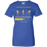 Muay Thai Skills Loading t shirt mockup - Style Ladies Custom 100% Cotton T-Shirt - Color Royal