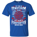Firefighter Retired t shirt mockup - Style G200 Gildan Ultra Cotton T-Shirt - Color Royal
