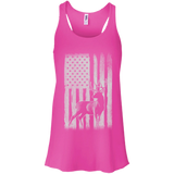 Deer Hunting US Flag t shirt mockup - Style B8800 Bella + Canvas Flowy Racerback Tank - Color Neon Pink