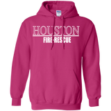 Houston Fire Rescue t shirt mockup - Style G185 Gildan Pullover Hoodie 8 oz. - Color Heliconia