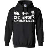 Sex, Weights & Protein Shakes t shirt mockup - Style G185 Gildan Pullover Hoodie 8 oz. - Color Black