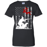 Duck Hunting USA Flag t shirt mockup - Style G200L Gildan Ladies' 100% Cotton T-Shirt - Color Black