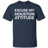 Excuse My Houston Attitude t shirt mockup - Style G200 Gildan Ultra Cotton T-Shirt - Color Navy