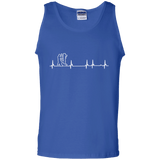 Wing Chun Heartbeat t shirt mockup - Style 100% Cotton Tank Top - Color Royal