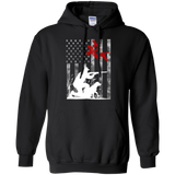 Duck Hunting USA Flag t shirt mockup - Style G185 Gildan Pullover Hoodie 8 oz. - Color Black