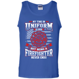 Firefighter Retired t shirt mockup - Style G220 Gildan 100% Cotton Tank Top - Color Royal