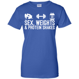 Sex, Weights & Protein Shakes t shirt mockup - Style G200L Gildan Ladies' 100% Cotton T-Shirt - Color Royal