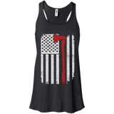 Firefighter Axe US Flag t shirt mockup - Style B8800 Bella + Canvas Flowy Racerback Tank - Color Black