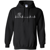 Wing Chun Heartbeat t shirt mockup - Style Pullover Hoodie 8 oz - Color Black