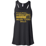 Installing Muay Thai Skills t shirt mockup - Style Bella+Canvas Flowy Racerback Tank - Color Black