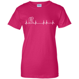 Wing Chun Heartbeat t shirt mockup - Style Ladies Custom 100% Cotton T-Shirt - Color Heliconia