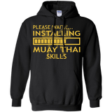 Installing Muay Thai Skills t shirt mockup - Style Pullover Hoodie 8 oz - Color Black
