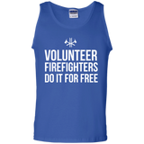 Volunteer Firefighters - Do It For Free t shirt mockup - Style G220 Gildan 100% Cotton Tank Top - Color Royal
