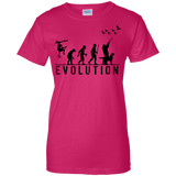 Duck Hunting Evolution t shirt mockup - Style G200L Gildan Ladies' 100% Cotton T-Shirt - Color Heliconia