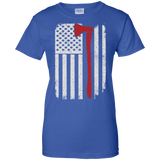 Firefighter Axe US Flag t shirt mockup - Style G200L Gildan Ladies' 100% Cotton T-Shirt - Color Royal