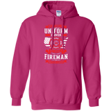 Being A Fire Man t shirt mockup - Style G185 Gildan Pullover Hoodie 8 oz. - Color Heliconia