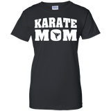 Karate Mom t shirt mockup - Style Ladies Custom 100% Cotton T-Shirt - Color Black