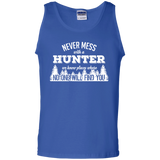 Never Mess With A Hunter t shirt mockup - Style G220 Gildan 100% Cotton Tank Top - Color Royal