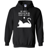 Place Cat Here t shirt mockup - Style G185 Gildan Pullover Hoodie 8 oz. - Color Black
