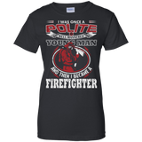 I Became A Firefighter t shirt mockup - Style G200L Gildan Ladies' 100% Cotton T-Shirt - Color Black