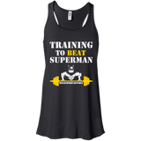 Training To Beat Superman t shirt mockup - Style B8800 Bella + Canvas Flowy Racerback Tank - Color Black
