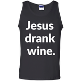 Jesus Drank Wine t shirt mockup - Style G220 Gildan 100% Cotton Tank Top - Color Black