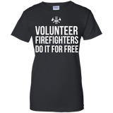 Volunteer Firefighters - Do It For Free t shirt mockup - Style G200L Gildan Ladies' 100% Cotton T-Shirt - Color Black
