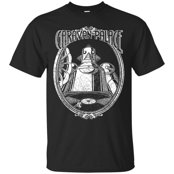 Caravan Palace t shirt mockup - Style G200 Gildan Ultra Cotton T-Shirt - Color Black