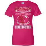 I Became A Firefighter t shirt mockup - Style G200L Gildan Ladies' 100% Cotton T-Shirt - Color Heliconia