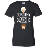 Dorothy In The Streets Blanche In The Sheets t shirt mockup - Style G200L Gildan Ladies' 100% Cotton T-Shirt - Color Black
