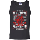 Firefighter Retired t shirt mockup - Style G220 Gildan 100% Cotton Tank Top - Color Black