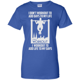 I Workout To Add Life To My Days t shirt mockup - Style G200L Gildan Ladies' 100% Cotton T-Shirt - Color Royal