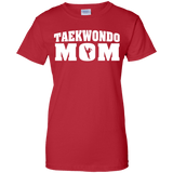 Taekwondo Mom t shirt mockup - Style Ladies Custom 100% Cotton T-Shirt - Color Red