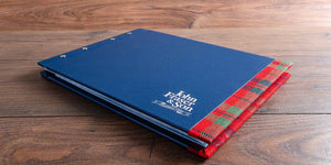 custom made a3 portfolio book with personalised cover and fabric detailing