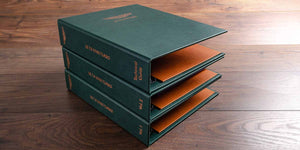 personalised car document folders for classic car in faux green leather