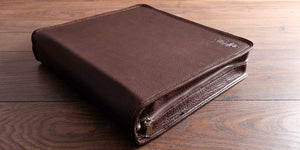 hand made and hand stitched brown leather document portfolio with zip and personalised cover