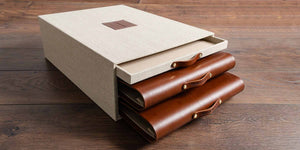 double leather presentation portfolios and presentation box with drawer for commercial interior design bid