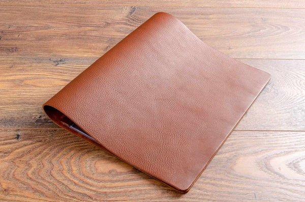 A4 brown leather menu cover