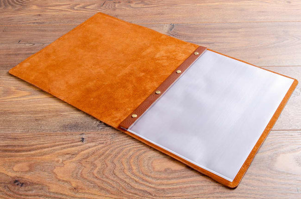 A4 brown leather menu cover with page sleeves