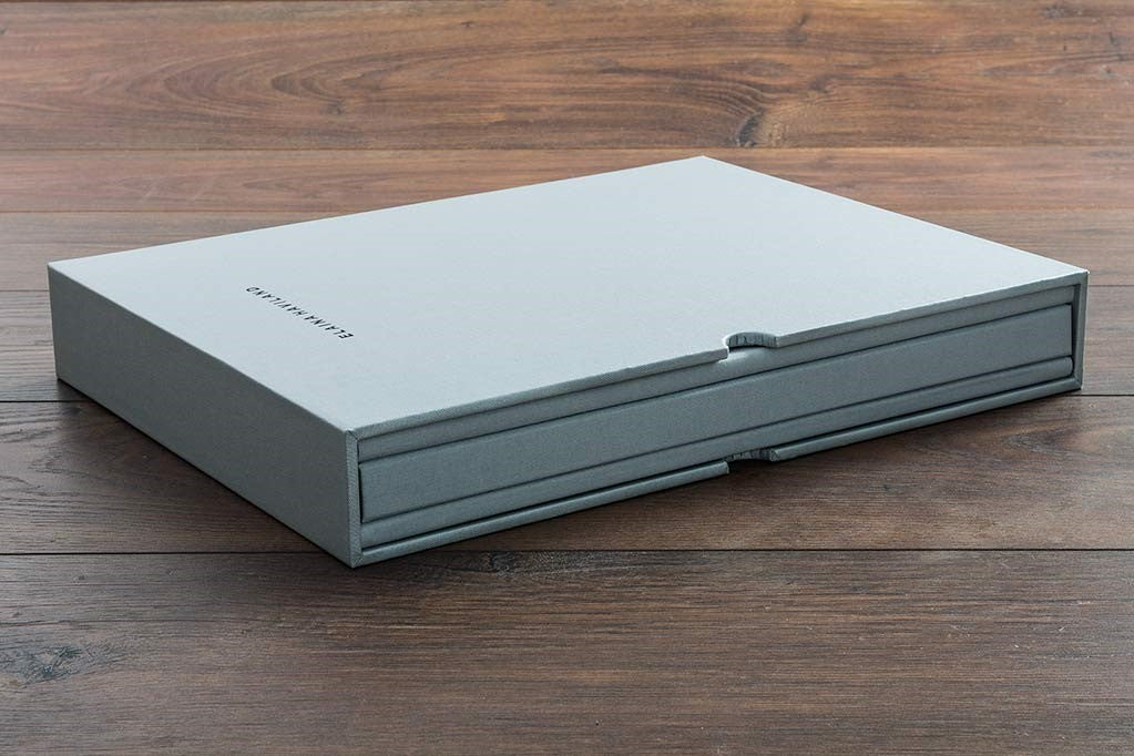 Custom made matching slipcase and portfolio in chobi